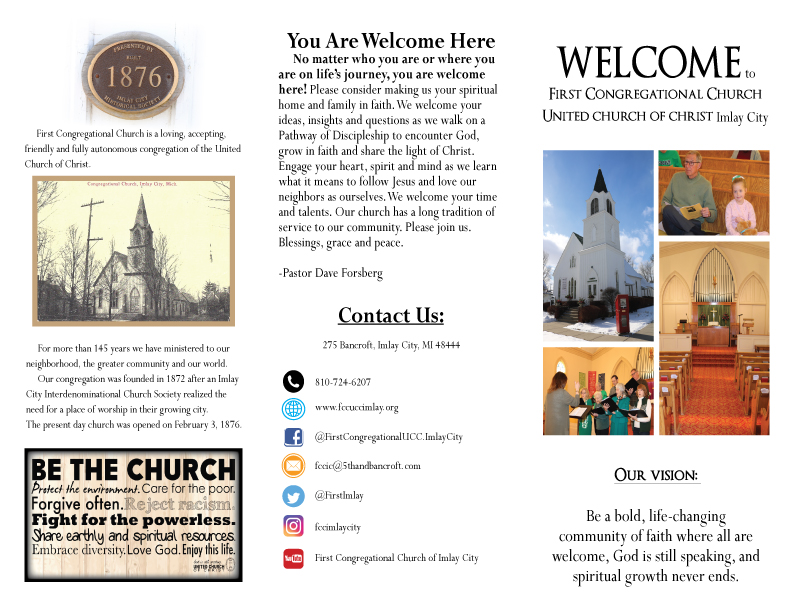 First Congregational Church WELCOME Brochure Front